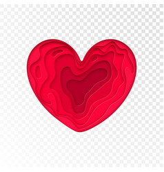 valentines day papercut heart for valentine vector image
