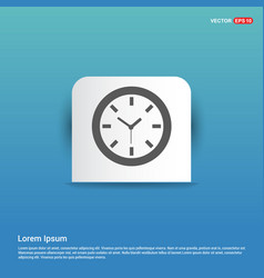 wall clock icon - blue sticker button vector image