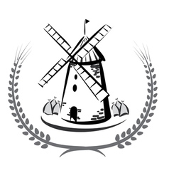 Wind mill emblem vector