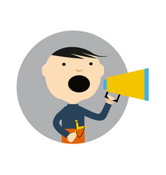 Young boy with slingshot and megaphone icon vector