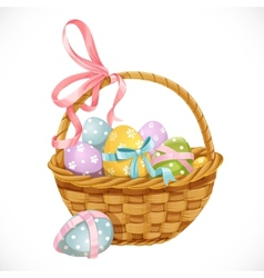 Basket with Easter eggs vector image vector image