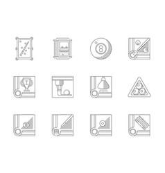 billiards flat line icons set vector image vector image