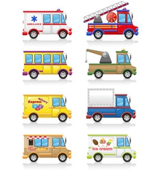 car and truck icon set vector image vector image