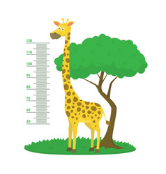 cartoon meter wall with giraffe and tree green vector image
