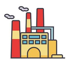 factory flat line concept vector image