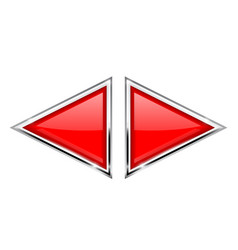 Red triangle buttons with metal frame vector