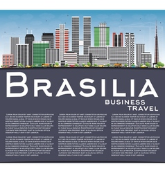 Brasilia Skyline with Gray Buildings vector image vector image