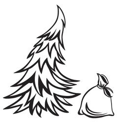 Christmas tree and bag with gifts vector image vector image