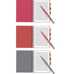notebook and pen set vector image vector image