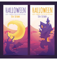 Set of halloween banners with spooky haunted house vector