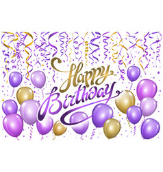 violet gold balloons happy birthday background vector image vector image