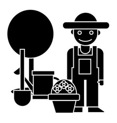gardener - tree - shovel - watering can - bush vector image vector image