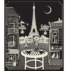 paris night cafe vector image
