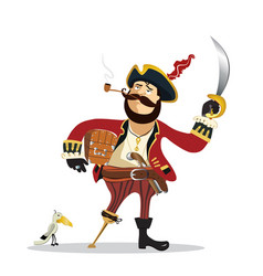 pirate cartoon man isolated on a white vector image
