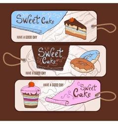 Set of decorative banners Sweet cake sketch backg vector image