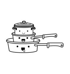 stewpan and cooking pot stack monochrome kawaii vector image