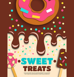 sweets desserts bakery confectionery poster vector image vector image