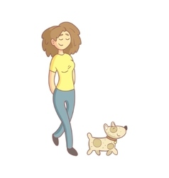 Woman walking the dog vector