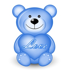 blue bear with heart vector image