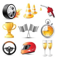 Car racing icons set vector