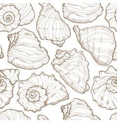 Hand drawing seashell seamless vector image vector image