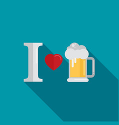 i love beer flat design style vector image vector image
