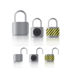 metal securite locked and unlocked padlockers vector image vector image