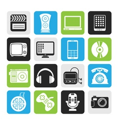 Silhouette multimedia and technology icons vector image
