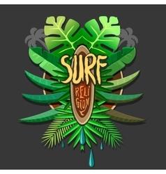 Summer artwork surf rerigion - surfing vector image