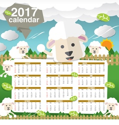 2017 Printable Calendar Starts Sunday Cute Sheep vector image