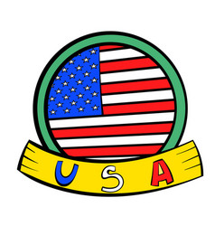 4th july independence day badge icon cartoon vector image