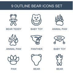 9 bear icons vector image