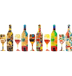 Abstract wine collection vector image