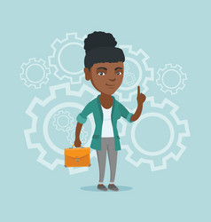 African business woman came up with business idea vector