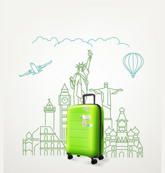 around world concept with green travel bag vector image