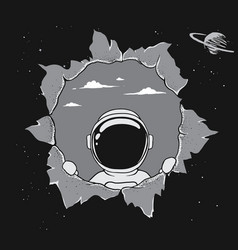 Astronaut breaks into space punching wall vector