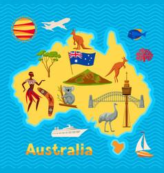 Australia map design australian traditional vector
