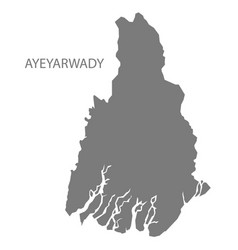 Ayeyarwady myanmar map grey vector