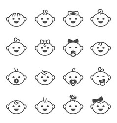 baby face set little cute boys and girls vector image