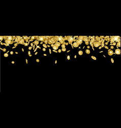 background with falling gold bitcoins vector image