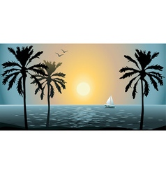 Beautiful Summer Sunset By the Beach vector image