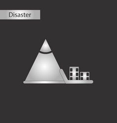 Black and white style icon snow avalanche house vector