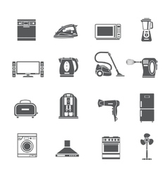 Black Household Appliances Icons Set vector