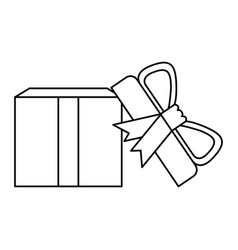 black silhouette of opened gift box with vector image vector image