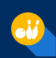 bowling sign white icon on vector image