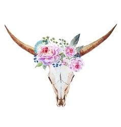 Bull skull watercolor vector image
