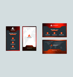Business card template portrait and landscape vector