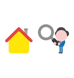 businessman character looking magnifying glass to vector image