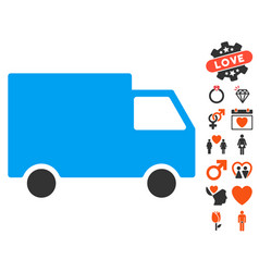 Cargo van icon with love bonus vector