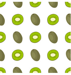 Cartoon fresh kiwi fruits in flat style seamless vector